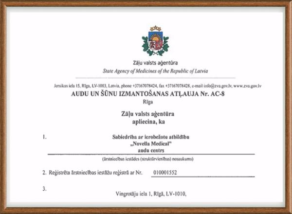 License Nr. AC-8 about European Directive on standards of quality and safety of the tissues and human cells